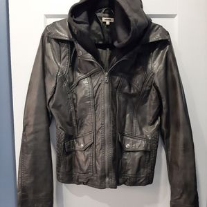 Awesome Retro Layered look, Vinyl Hooded Jacket
